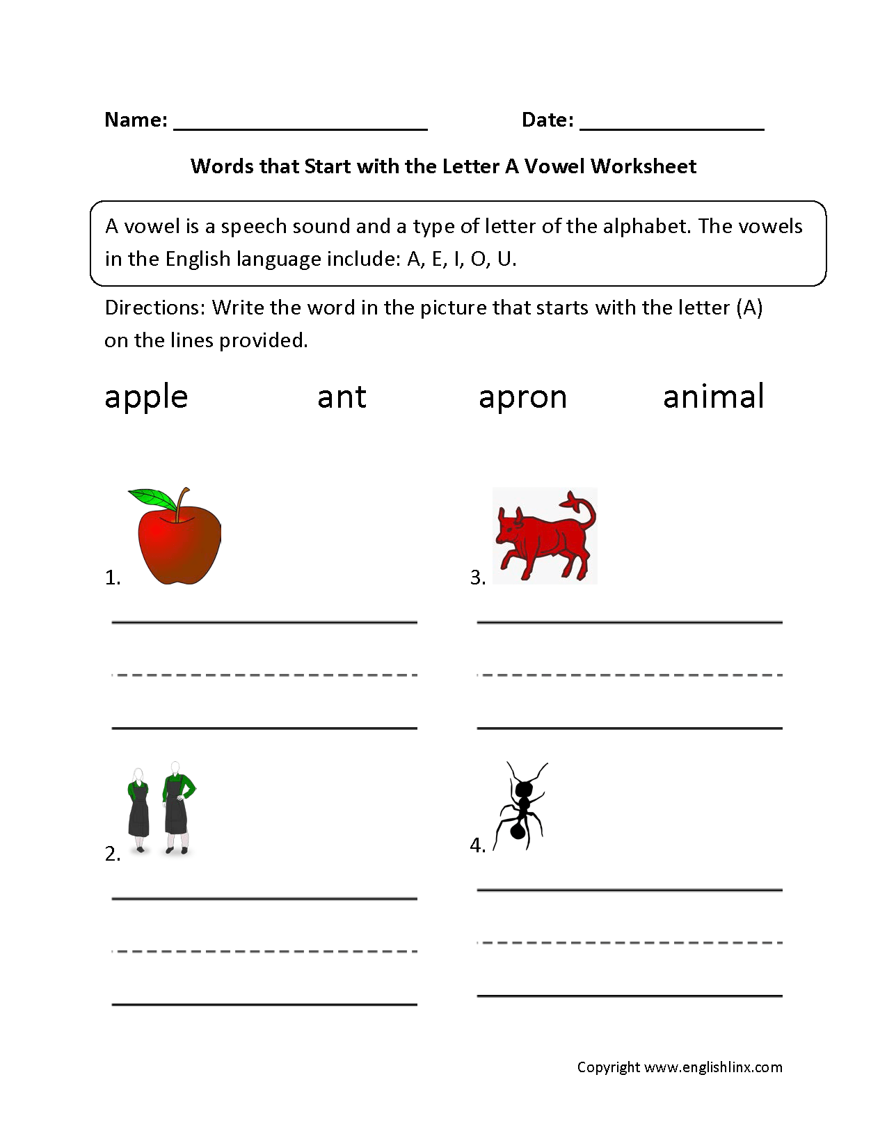 Words Start Letter A Vowel Worksheets