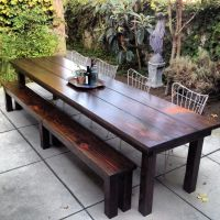 Simple Outdoor Dining Area with Rustic Outdoor Furniture ...