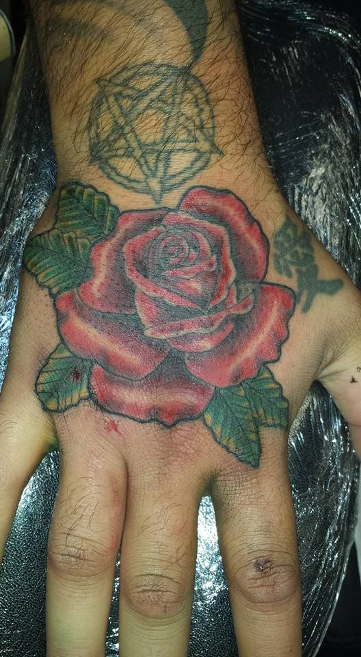 20 Red Rose Hand Tattoos Ideas And Designs