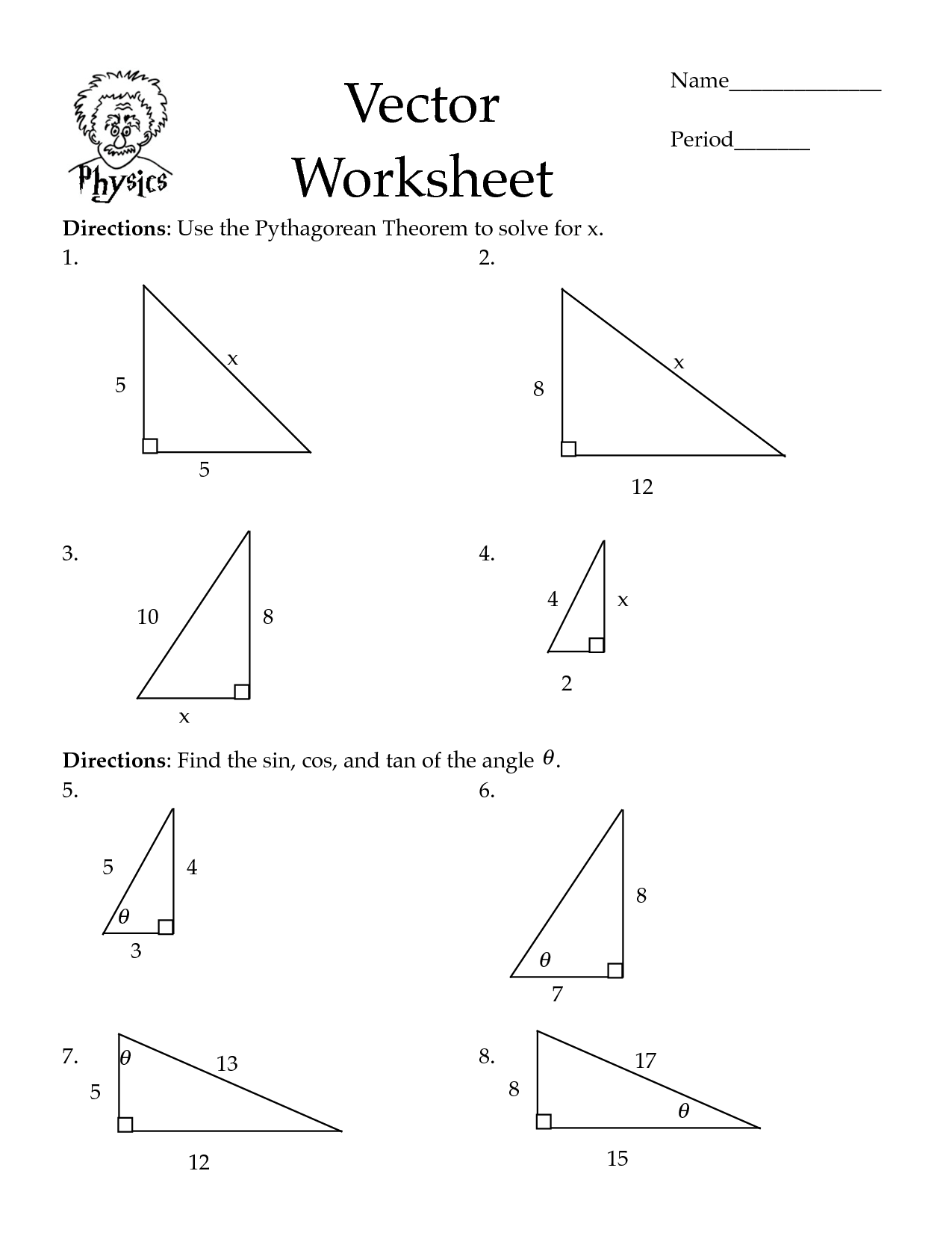 Pythagorean Theorem Worksheets Cos Law Worksheet