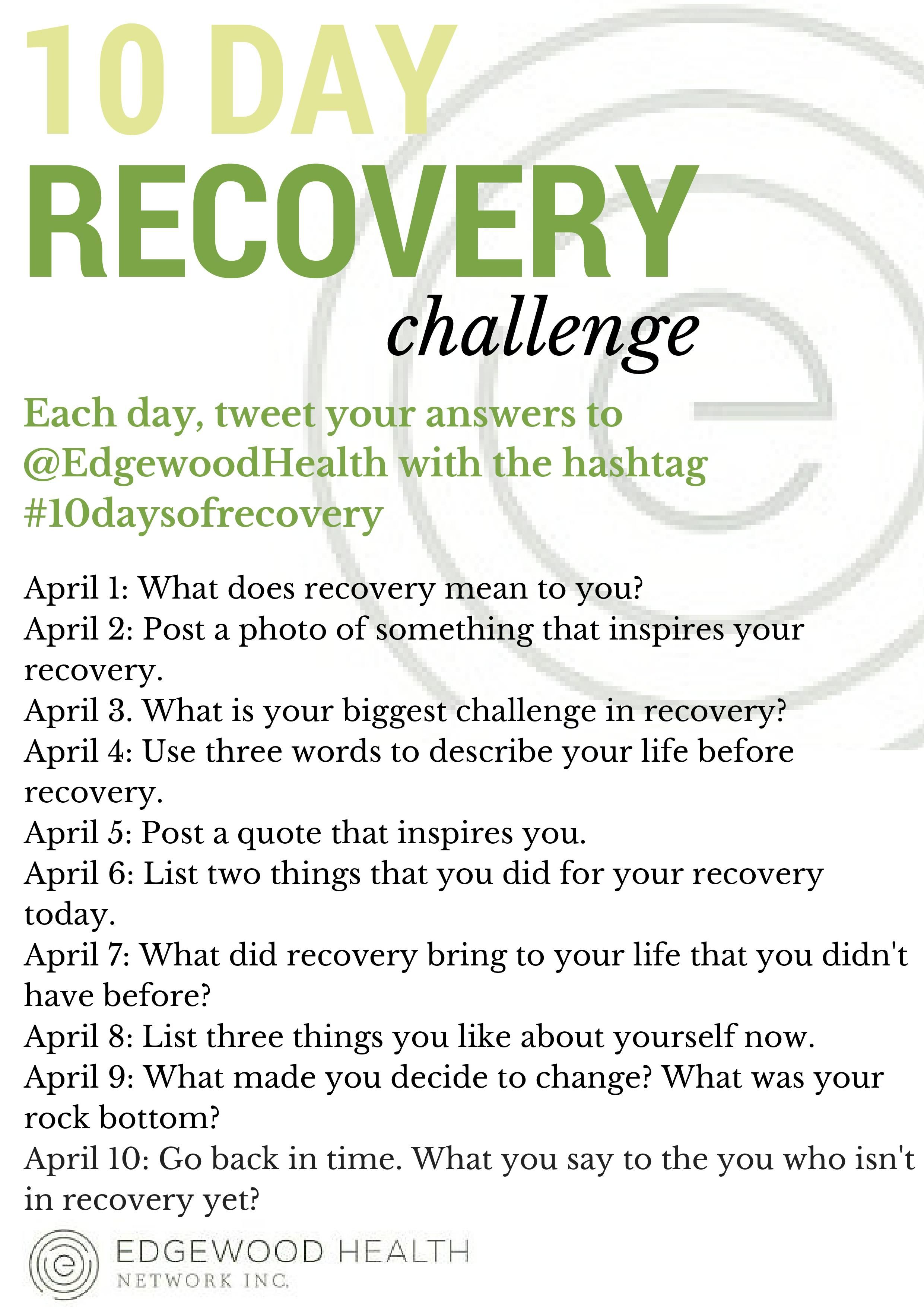 Join Us On Twitter For Our 10 Day Recovery Challenge