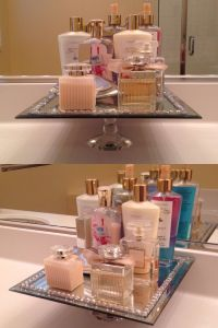 DIY perfume vanity. Using a glass pillar candle holder ...
