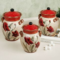Red Canister Set For Kitchen Ikea Small Poppies Theme Ideas