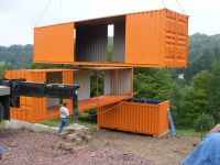Home Design Exterior Orange Wall Color Shipping Container ...
