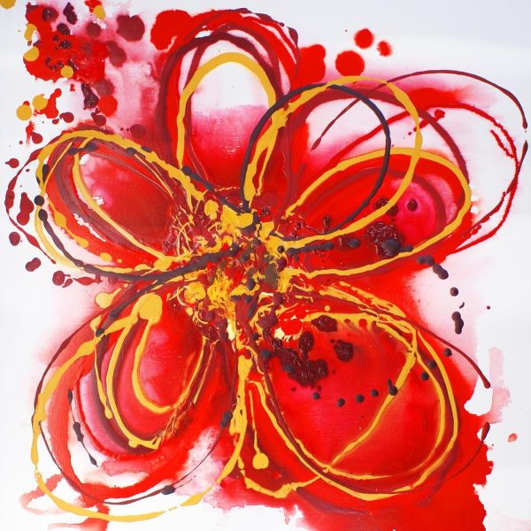 Red Flower Abstract Art Paintings