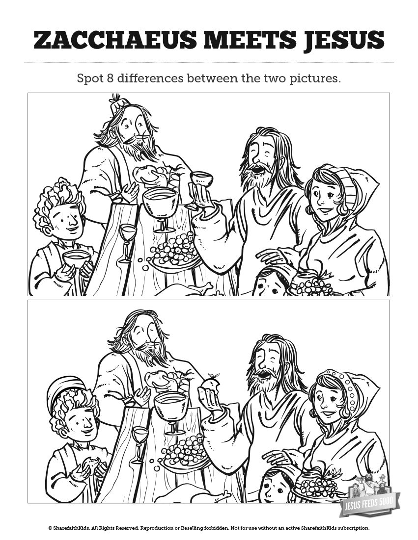 Luke 19 Story of Zacchaeus Kids Spot The Difference: Can
