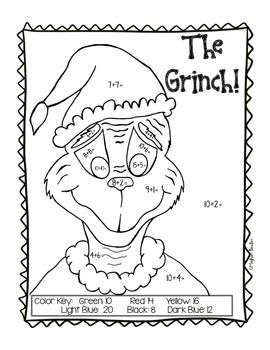 Grinch Color-By-Code Pack- Christmas math- Addition and