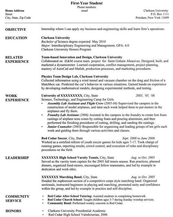 Clarkson University Senior Computer Science Resume Sample
