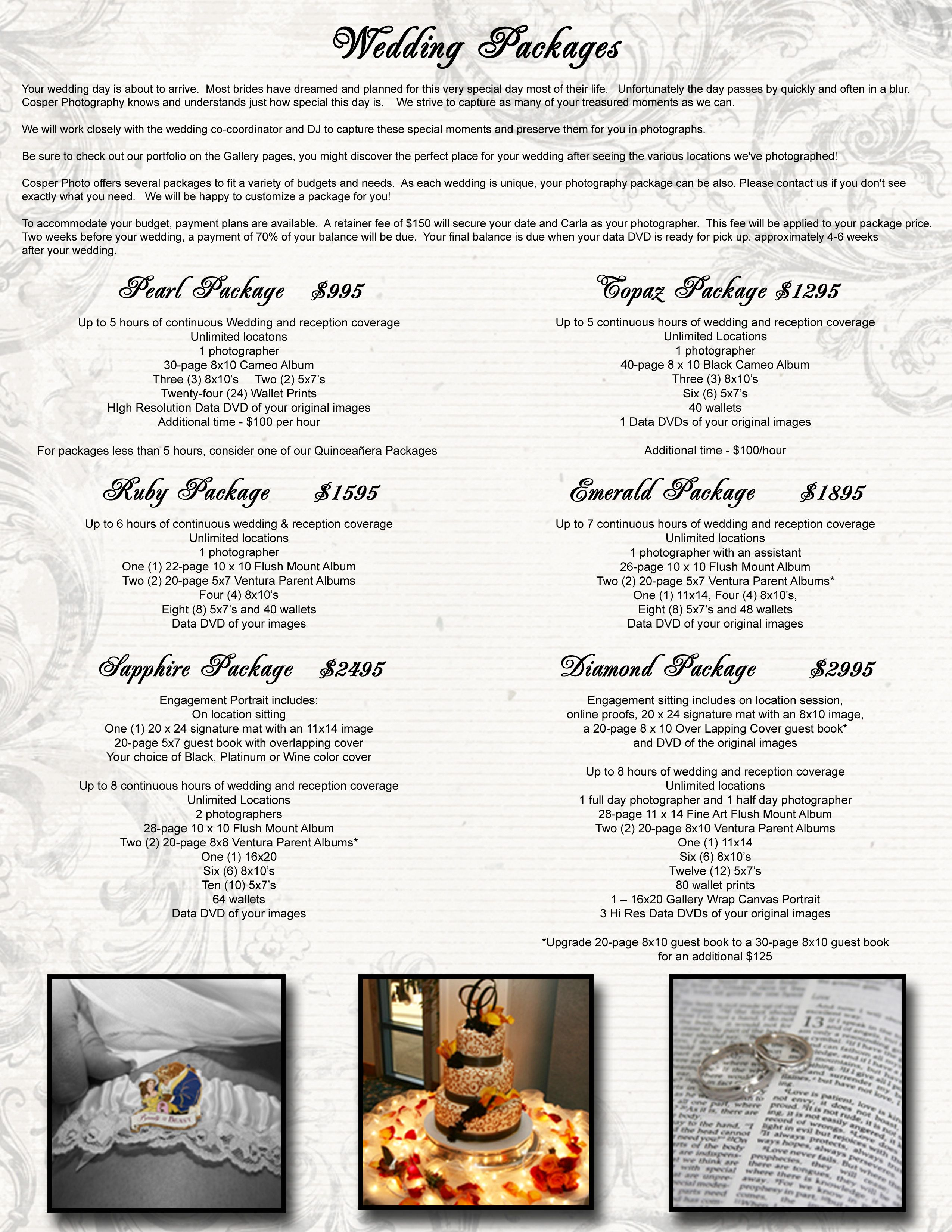Details and Pricing of Wedding Packages Offered by Cosper