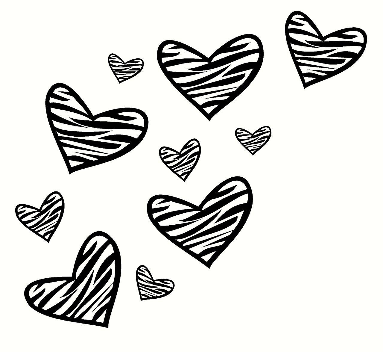 Zebra Print Heart Wall Decor Vinyl Decal Stickers 10pc