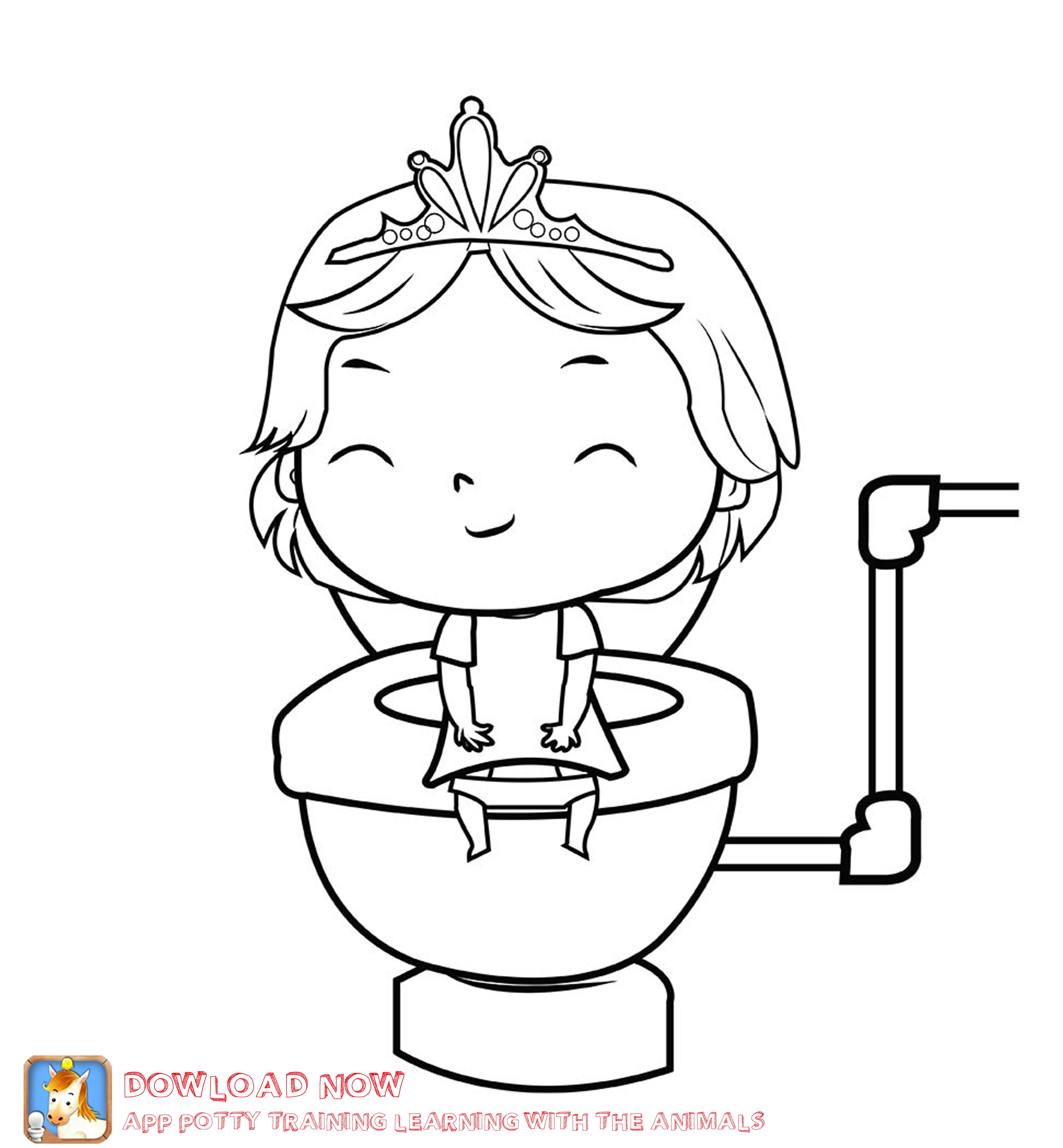 Potty Training Coloring Page Girl Part Of A Fun Potty