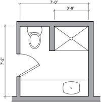 three quarter bath floor plan   Small Bathroom   Pinterest ...