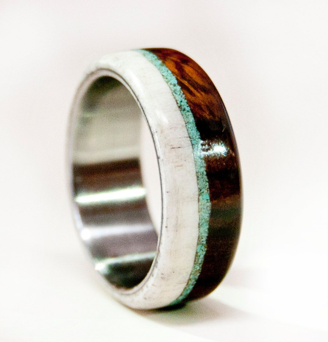 Mens Wedding Band Wood w Antler  Turquoise  Staghead