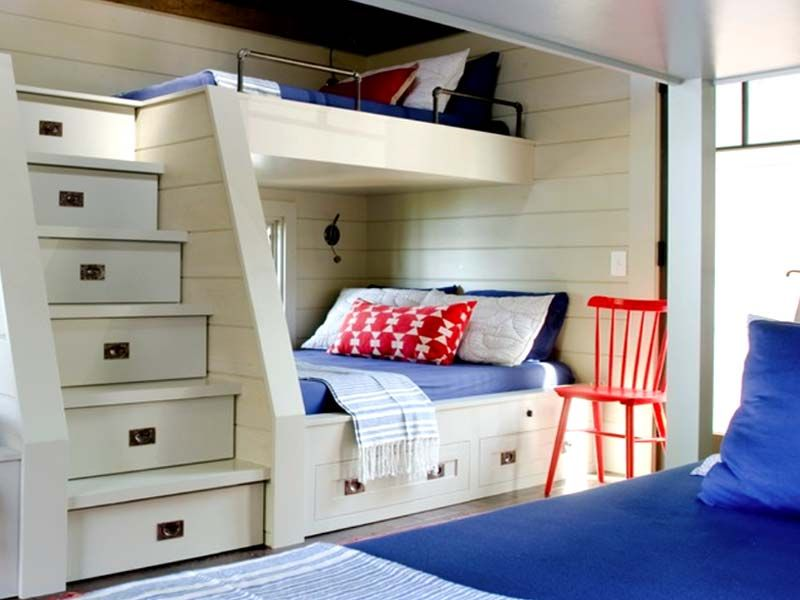 Modern Cool built in bunk beds for small rooms with steps
