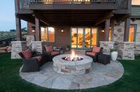 Back Patio with firepit in Tuhaye. Home built by Cameo ...
