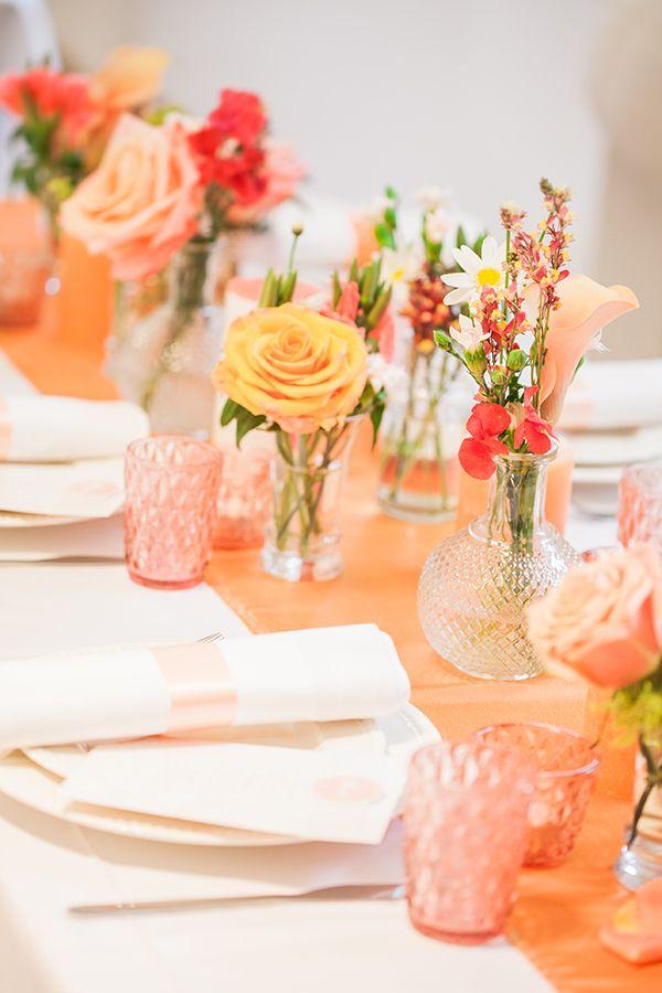 Sommerliche Tischdeko in Peach und Orange  Peach Perfect
