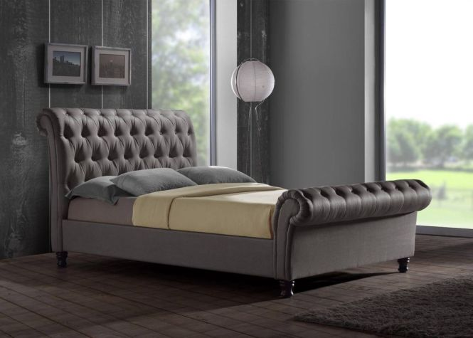 Castello Chesterfield Sleigh Grey Fabric 5ft 150cm King Size Bed Frame