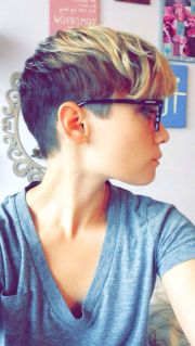 pixie undercut with blonde ombr