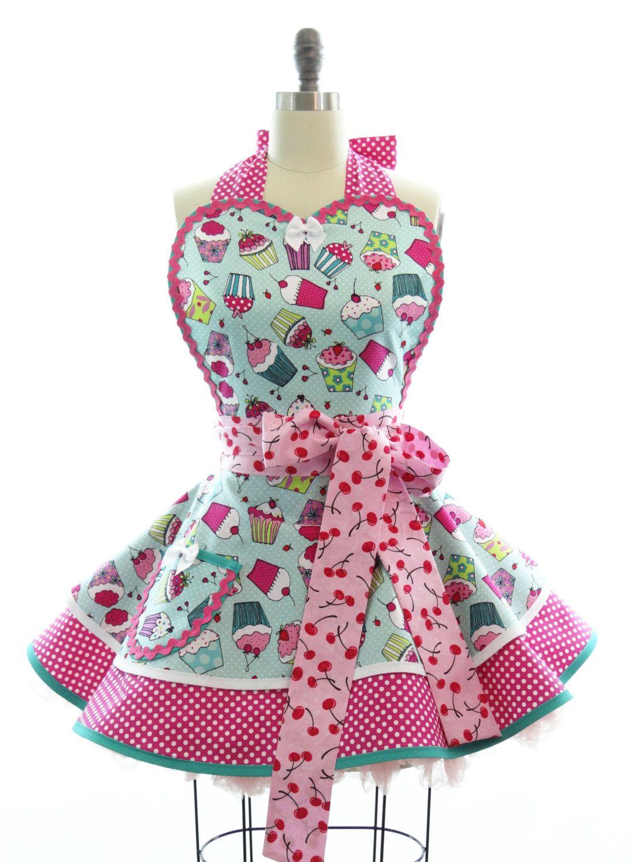 cute kitchen aprons island lights retro apron cherry cupcake sexy womans vintage