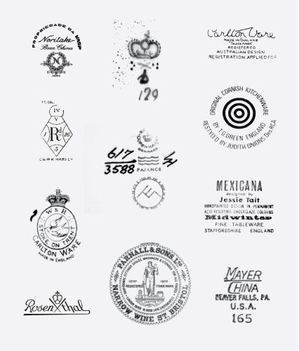 A collection of interesting maker's marks found on the