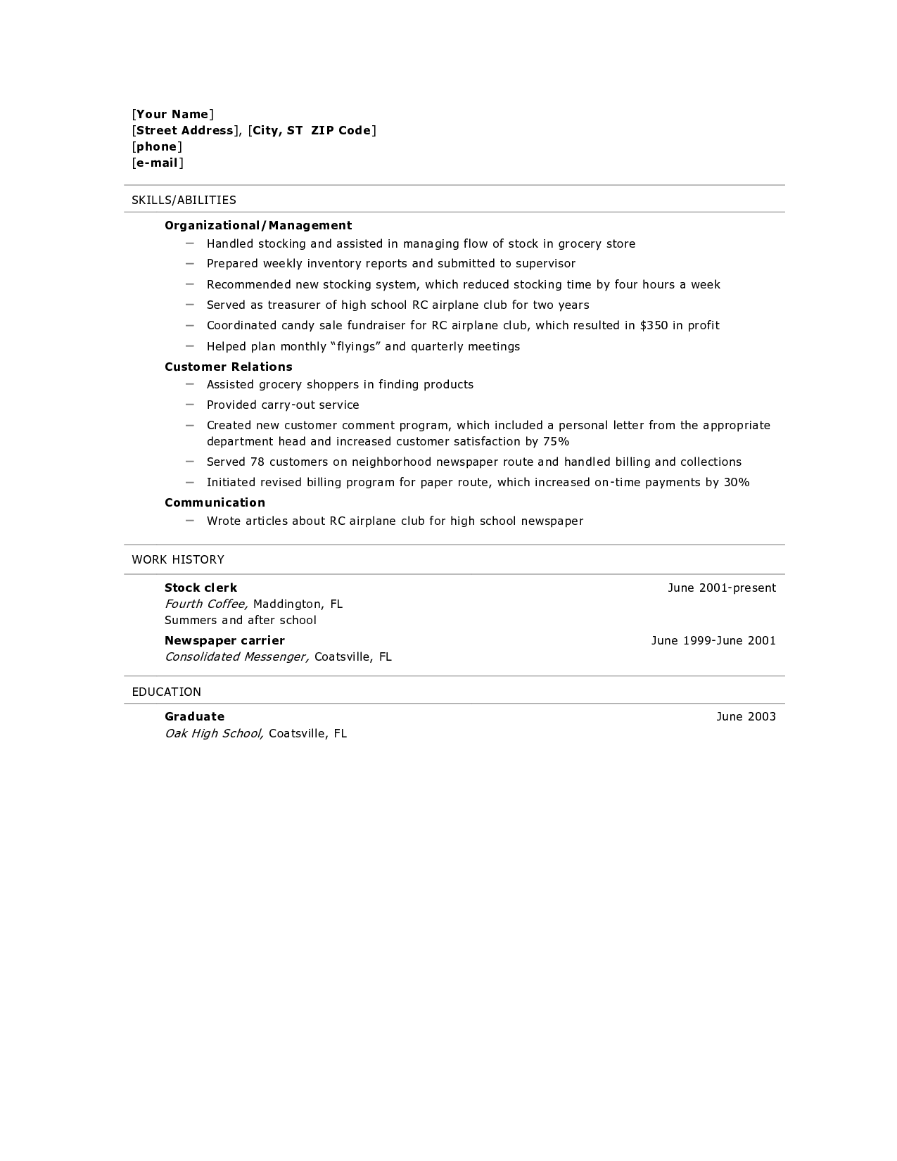 Skills For A High School Student Resume Resume For High School Graduate Resume Builder Resume