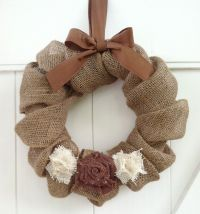 Burlap Wreath with Burlap and Shabby Chic Rosettes www ...