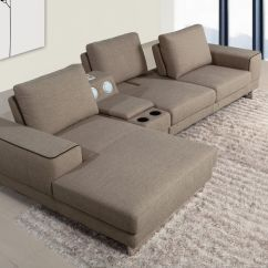 Casa Italy Sofa Bed Beige Leather Sleeper Gatsby Modern Fabric Sectional W Beverage Console