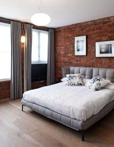 Custom curtains  drapes brick wall bedroom interior exposed walls cozy ideas design retail also pin by empa on pinterest interiors rh