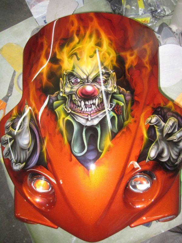 Airbrushed Clown Skull Front Fairing Jonny5nlala