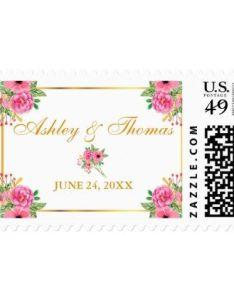 Watercolor flowers gold frame wedding postage modern style idea design custom also rh pinterest