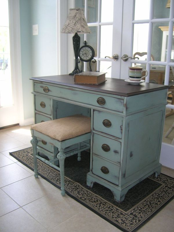 Sold Vintage Desk Vanity With Antique Bench