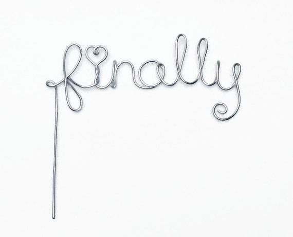 Finally Wire Wedding Cake Topper- Silver, Gold, Brown