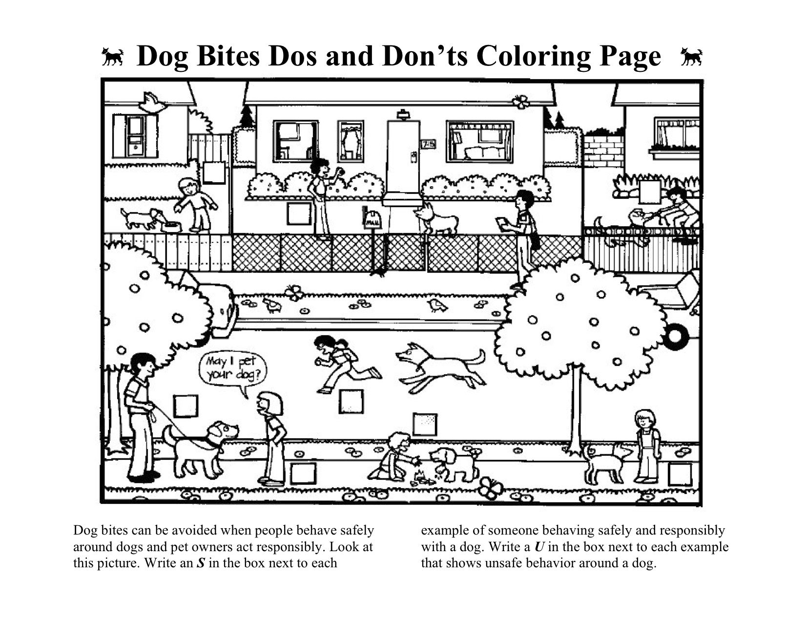 Dog Bite Safety Worksheet