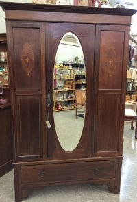 Antique Armoire with Inlay, Mahogany Wardrobe with Mirror ...