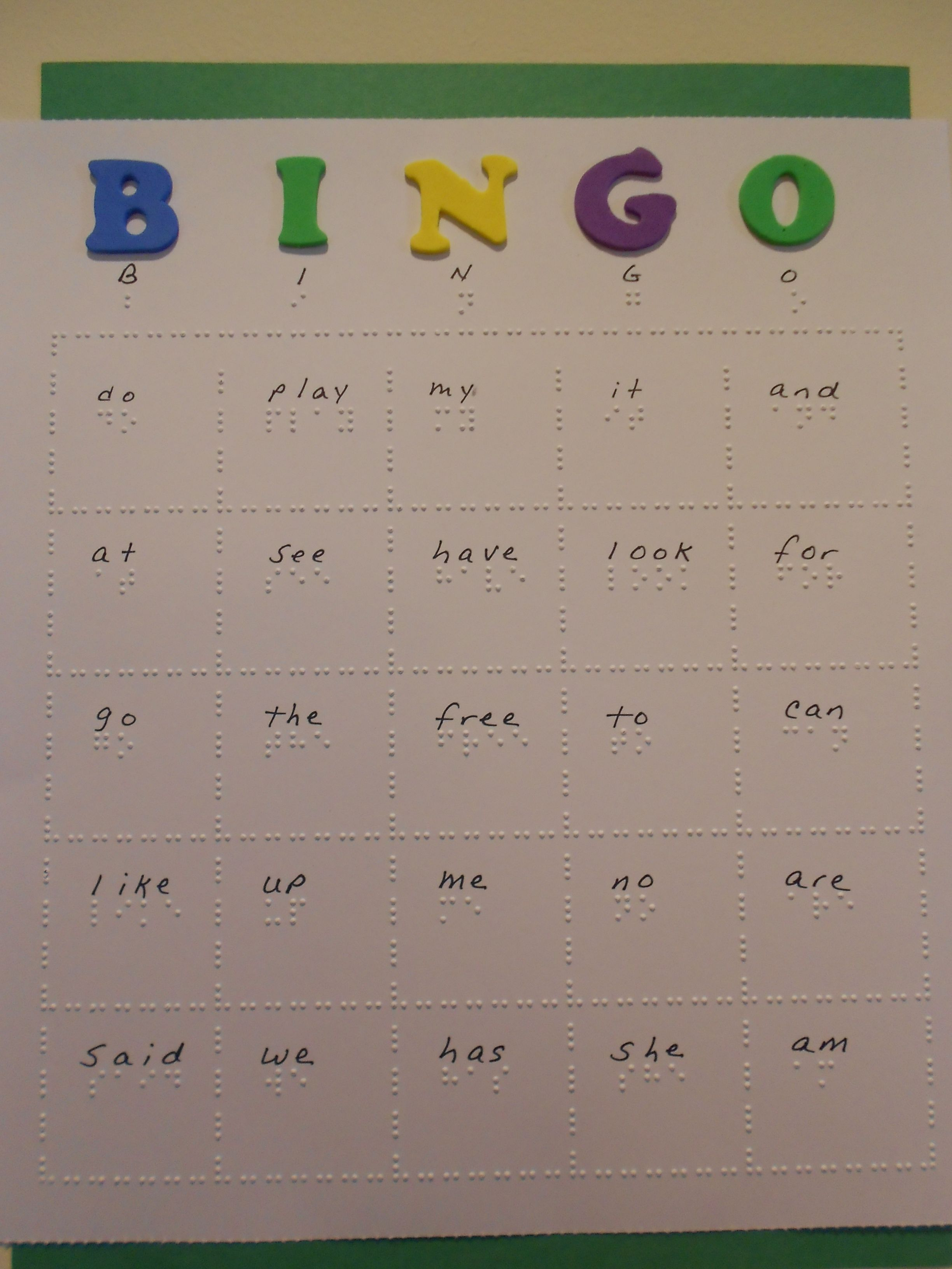 Braille Bingo Cards Twin Vision Print Braille Practice Kindergarten Sight Words In Either