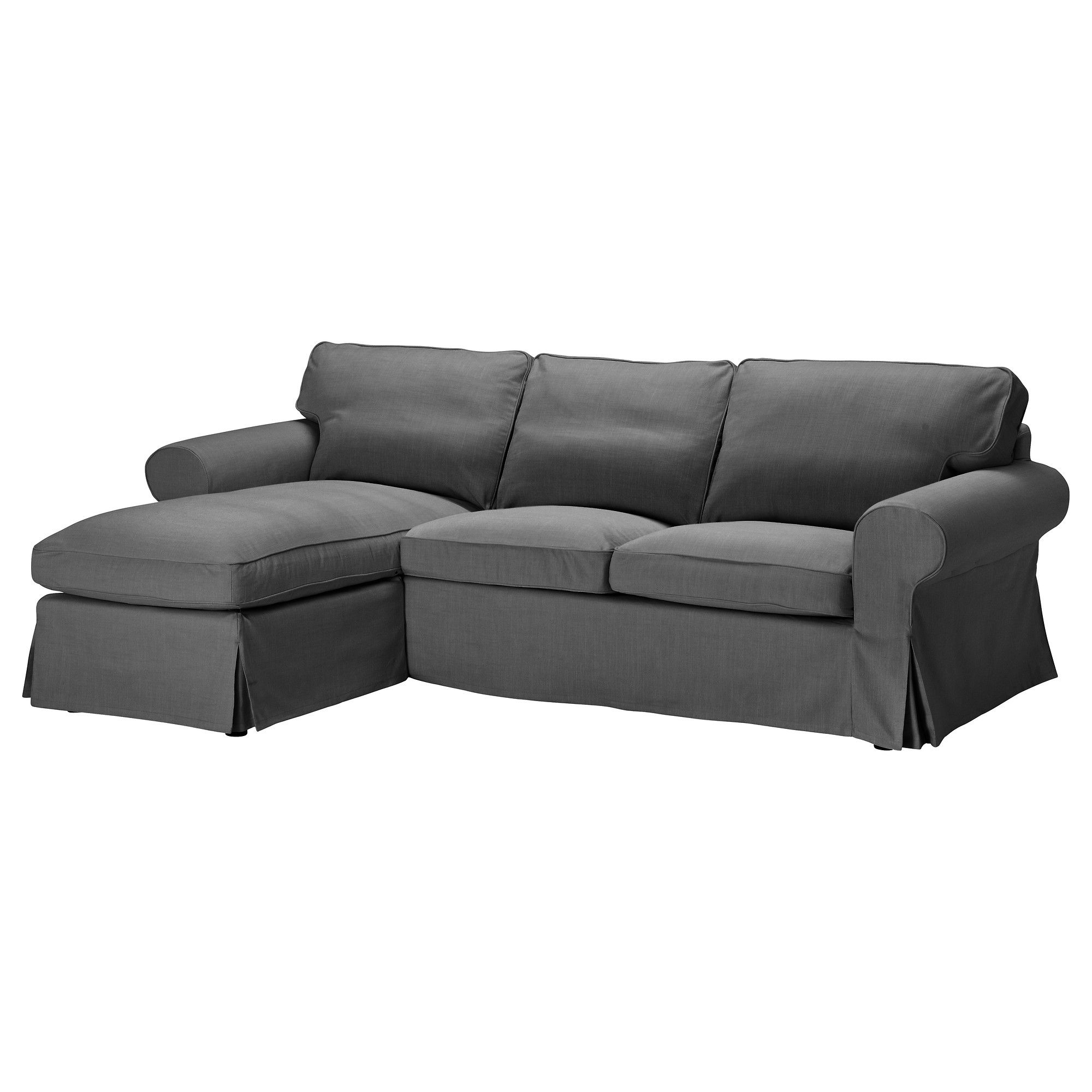 grey sofa chaise lounge plastic legs uk ektorp cover for loveseat with svanby gray ikea