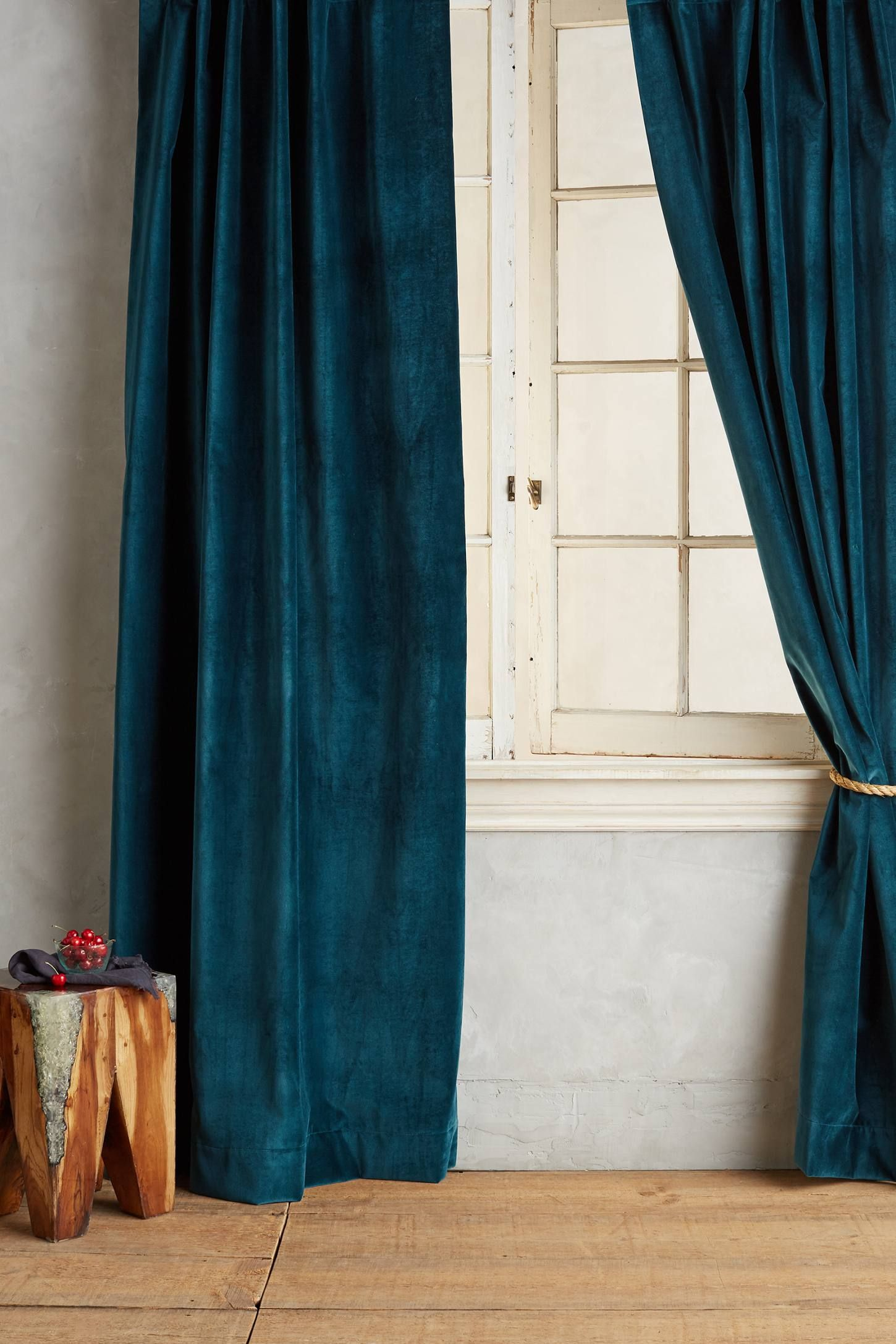 Teal outer curtain  Washed Velvet Curtain  httpwww