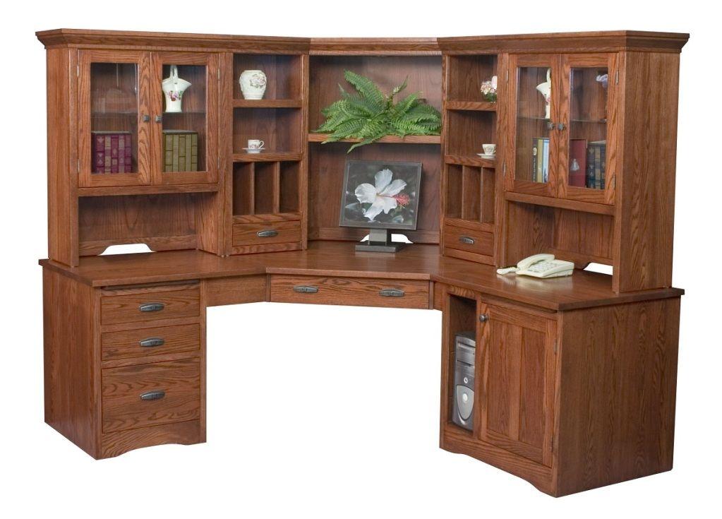 Amish Large Corner Computer Desk Hutch Bookcase Home