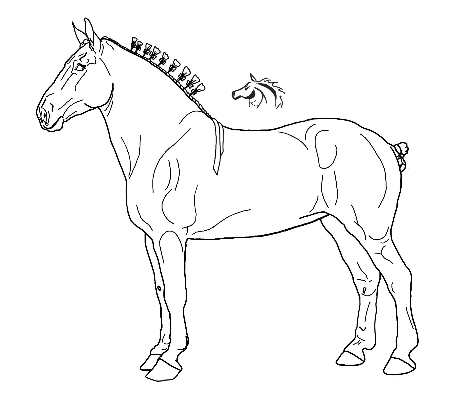 Draft Horse LineArt by xKissOfCreation.deviantart.com on