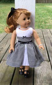 "18"" doll black gingham dress crinoline"