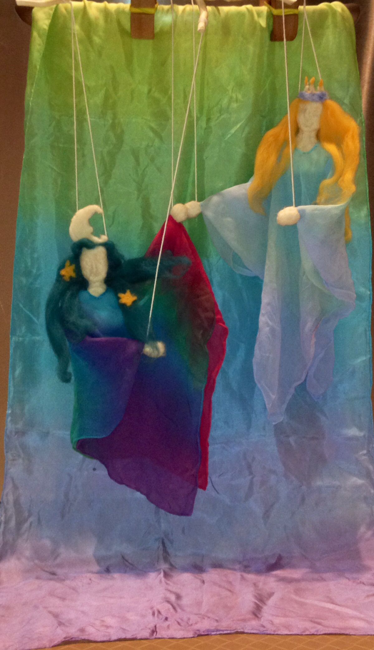 Winter Felted Wool Marionettes Moon Fairy And St Lucia Waldorf Puppets