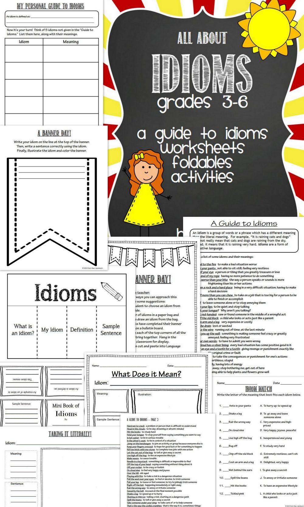 medium resolution of Grade 3 Idiom Worksheet Write An Idiom