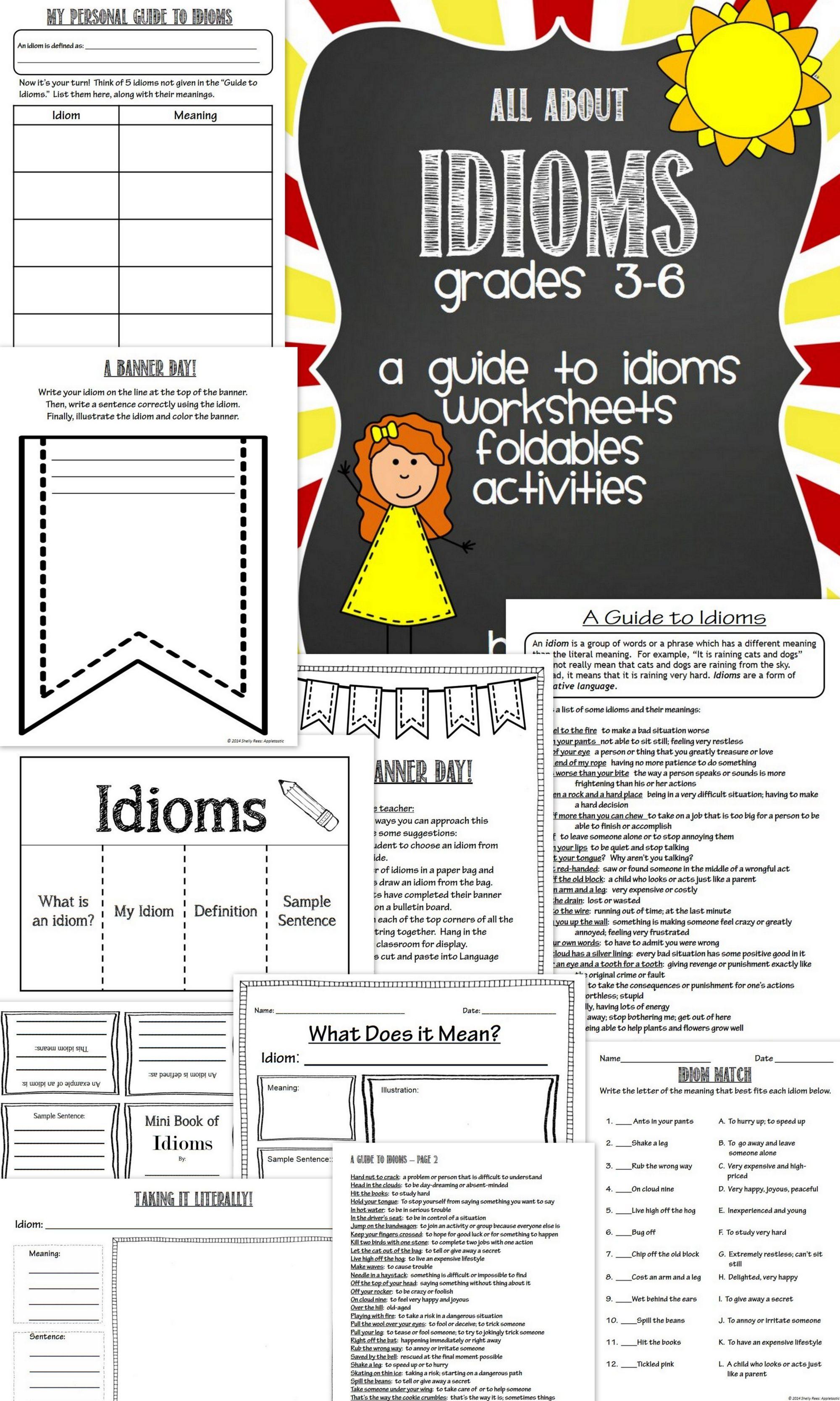 hight resolution of Grade 3 Idiom Worksheet Write An Idiom