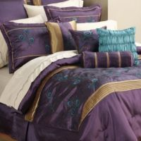 New Extreme Linens 16 Piece Iridescence Plum Cal King Bed