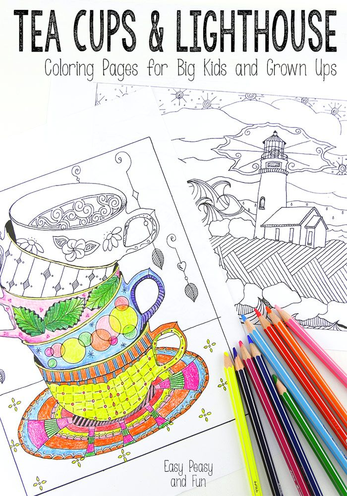 tea cups and lighthouse coloring pages  easy peasy tea