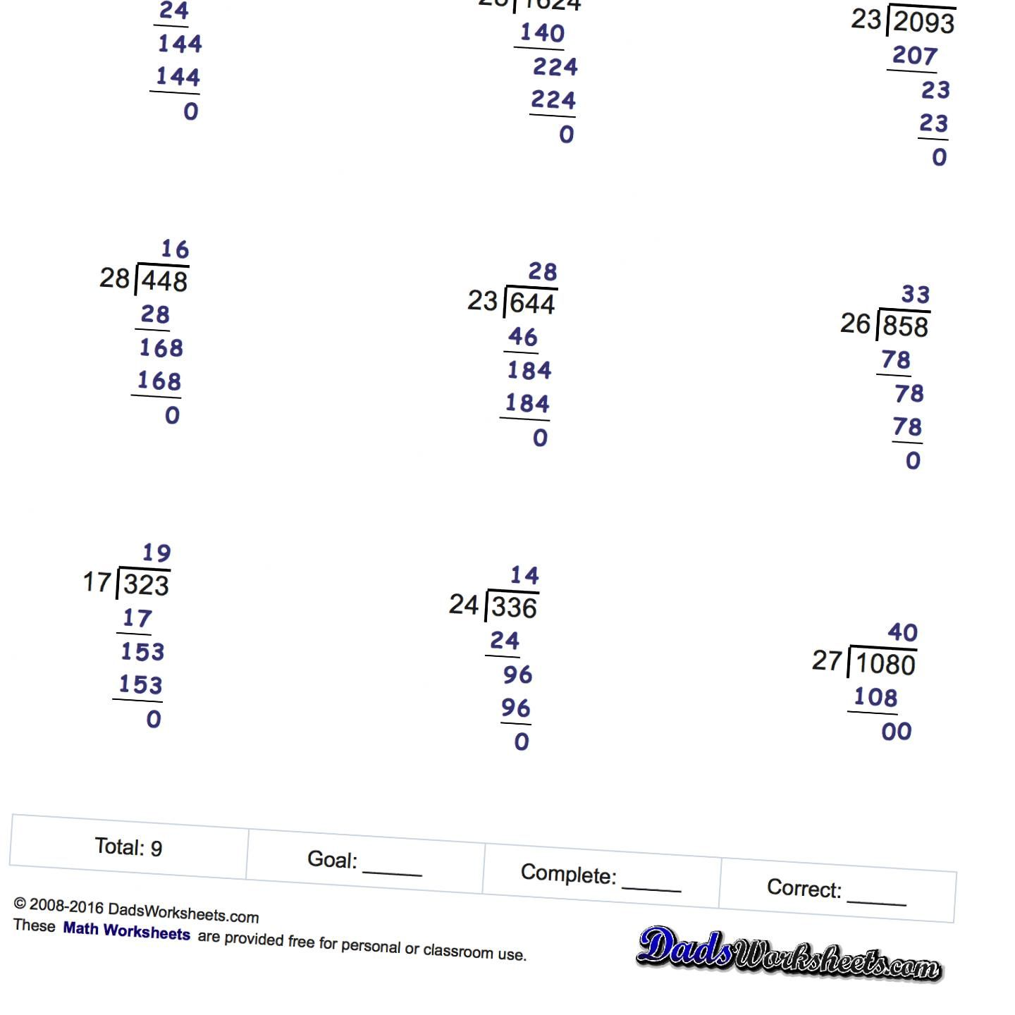 Long Division Worksheets Printable With Answer Keys That