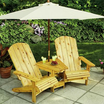 Neat Adirondack chair/table/umbrella set for over looking