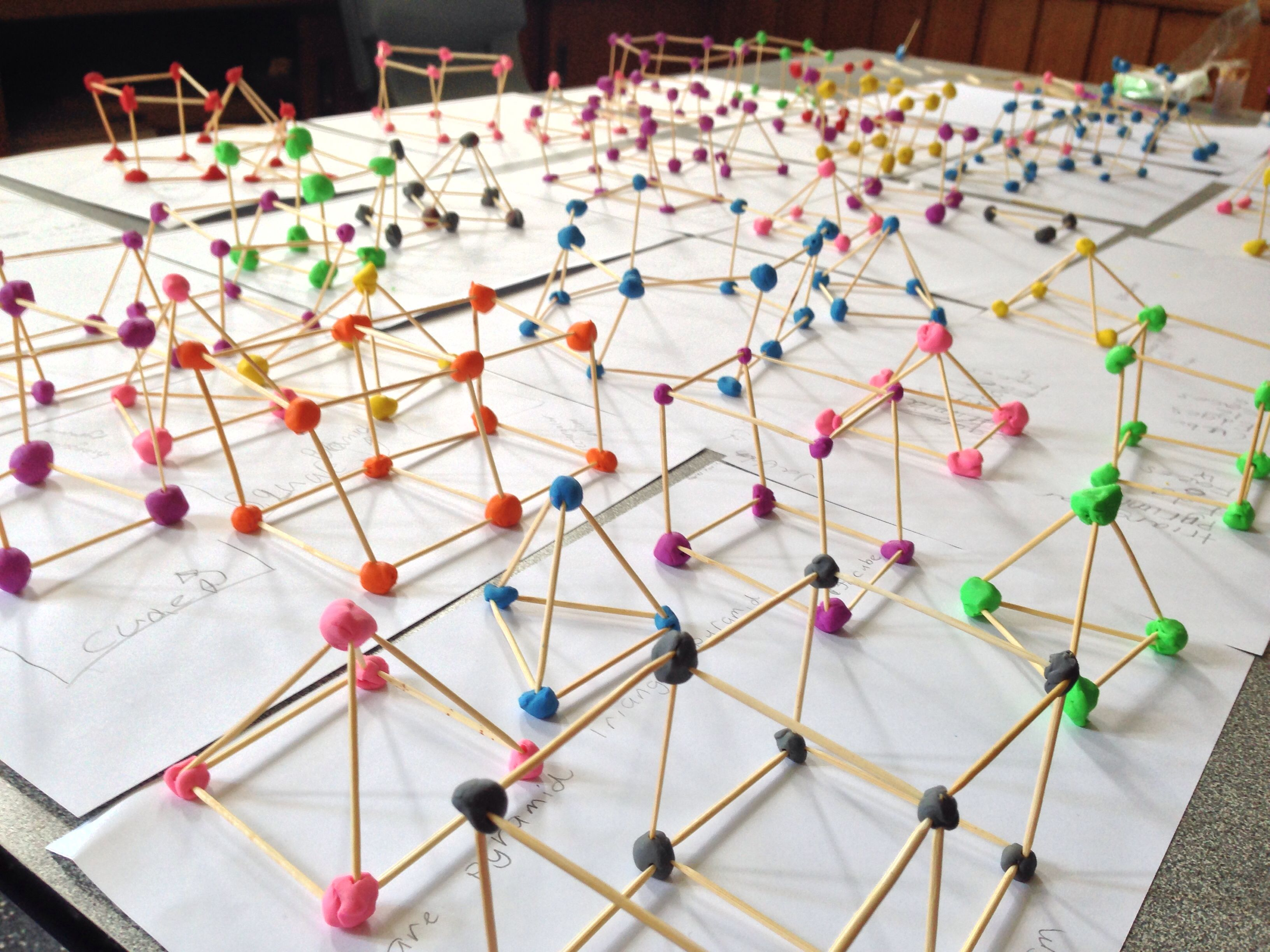 3d Shapes With Toothpicks And Plasticine