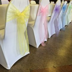 Chair Cover Hire South Wales Rocky Folding Outdoor Chairs White Covers With Pastel Multicoloured Organza