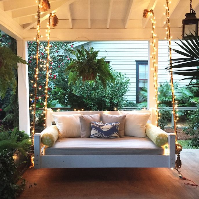patio string chair wooden vintage high swing bed front porch christmas | holiday pinterest porches, and swings
